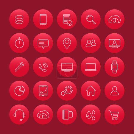 25 business, commerce, shopping, finance thin line icons, shopping symbols, round icons set, vector illustration