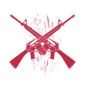 Crossed assault rifles two 556 mm automatic guns red on white vector illustration