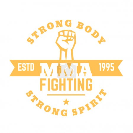 MMA fighting logo, sign, mma t-shirt design, print isolated on white, vector illustration