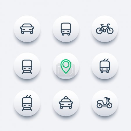 City and public transport round modern icons, public transportation vector icons, bus, subway, taxi, public transport pictograms, thick line icons set, vector illustration