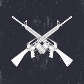 Crossed M16 assault rifles two 556 mm automatic guns vector illustration