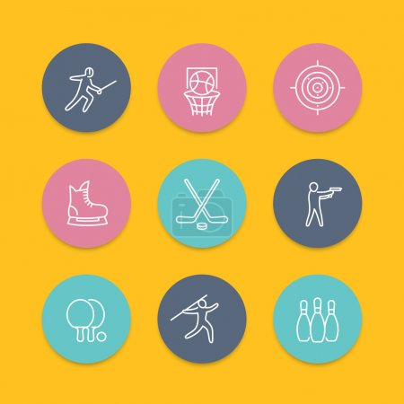 sports, games, team sport line icons, hockey, ping pong, basketball, fencing round flat icons, sports pictograms, vector illustration