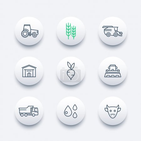 Agriculture, farming line icons, agrimotor, truck, harvest, cattle, agricultural machinery round modern icons, vector illustration