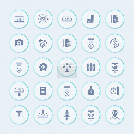 25 finance, investing icons, venture capital, shares, stocks, investor, funds, investment, income icons pack, vector illustration