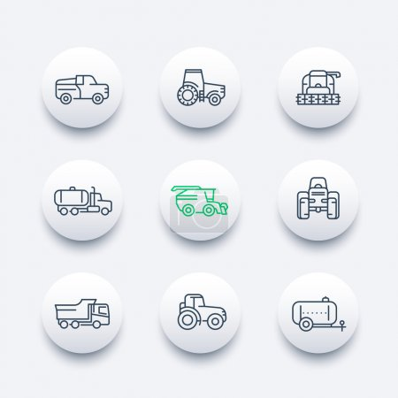 Illustration for Agricultural machinery line icons, tractor, combine harvester, agricultural vehicles, grain harvesting combine, truck, pickup round modern icons set, vector illustration - Royalty Free Image