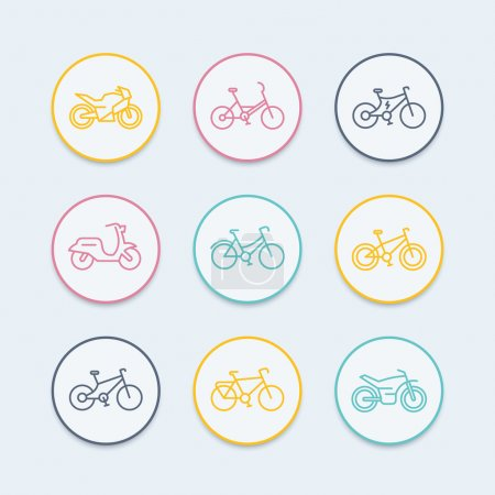 Bikes line icons, bicycle icon, bike, cycling, motorcycle vector, motorbike, fat bike, scooter, retro bike, electric bike, round icons, vector illustration