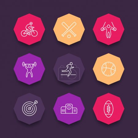 different kind of sports, line icons, sports pictograms on color octagon shapes, vector illustration