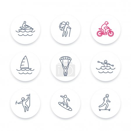 Extreme outdoor activities line icons set, extreme sports, recreation pictograms, round icons, vector illustration