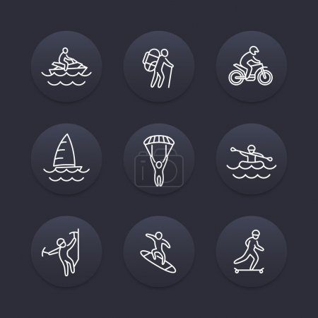extreme outdoor activities line icons, dark pictograms, vector illustration