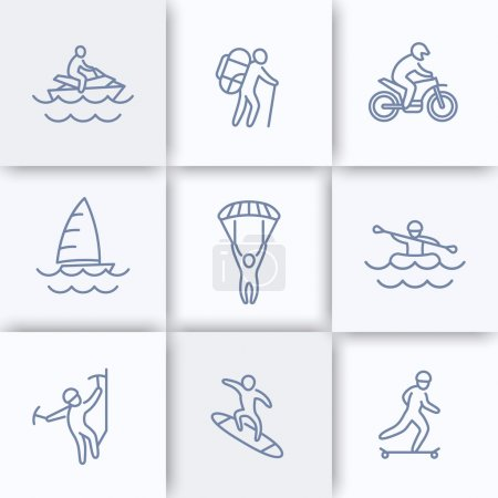 Extreme outdoor activities line icons, extreme sports, recreation pictograms, linear icons, vector illustration