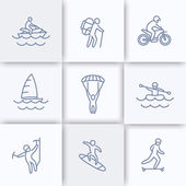 extreme outdoor activities line icons extreme sports recreation pictograms linear icons vector illustration