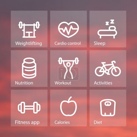Fitness thick line icons, fit and active lifestyle, strength training, workout, fitness icons on transparent squares, vector illustration