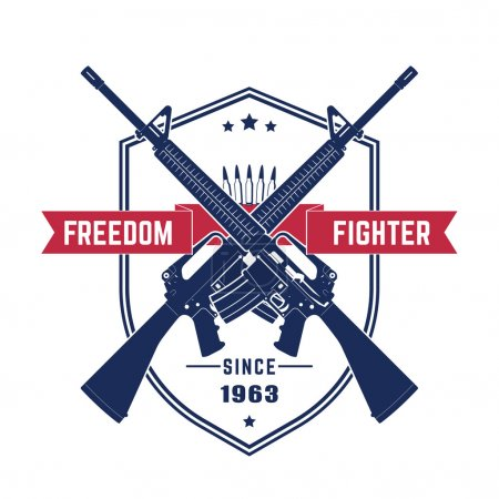 Freedom fighter, vintage t-shirt design with american assault rifles, automatic guns isolated over white, vector illustration