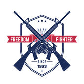 Freedom fighter vintage t-shirt design with american assault rifles automatic guns isolated over white vector illustration