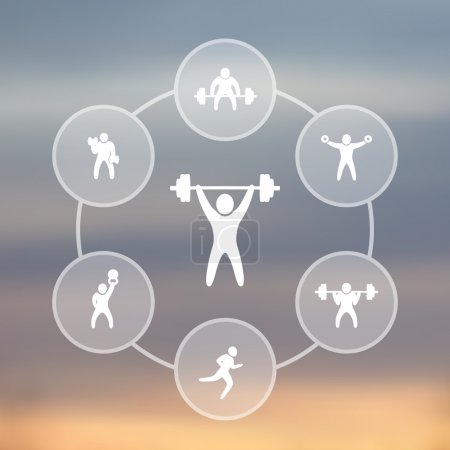 Gym, training, fitness exercises transparent icons, vector illustration