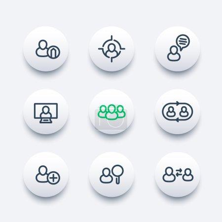 Illustration pour Ressources humaines rondes icônes modernes, hrm, gestion du personnel, rotation du personnel, coaching, embauche, vacance, jeu d'icônes épaisses, illustration vectorielle - image libre de droit