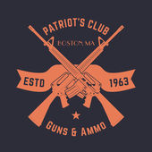 Patriots club vintage logo with crossed automatic guns gun shop sign with assault rifles gun store emblem vector illustration