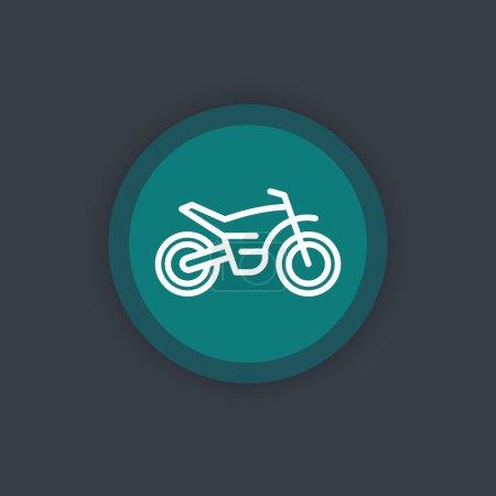 offroad bike, motorcycle line icon, motocross bike pictogram, round flat icon, vector illustration