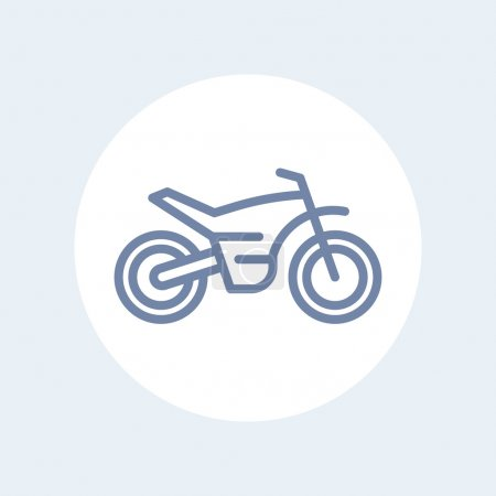 offroad bike, motorcycle line icon, motocross bike pictogram, sign isolated on white, vector illustration