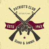 Patriots club vintage logo with crossed automatic guns gun shop vintage sign with assault rifles gun store emblem vector illustration