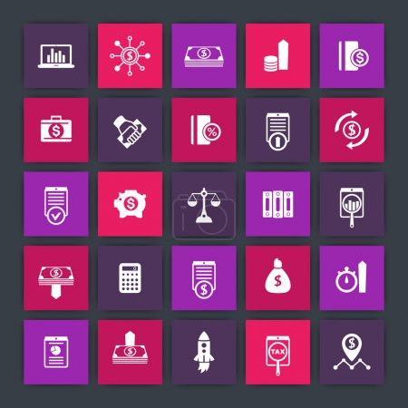 25 finance icons, investing, venture capital, shares, stocks, money, funds, investment, income, finance square icons set, vector illustration