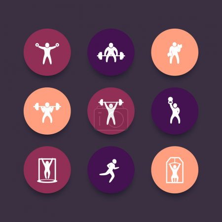 Gym, fitness exercises icons, gym training, workout, fitness, exercises round pictograms set, vector illustration