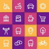 line icons for map on color squares vector illustration