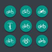 bicycle cycling bike electric bike fat-bike round green icons set vector illustration