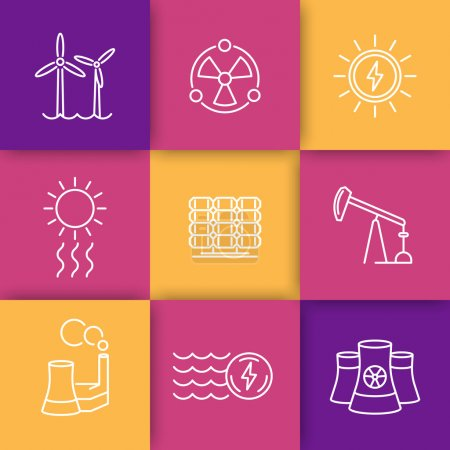 Power, energy production thin line icons set, energetics, nuclear energy, vector illustration
