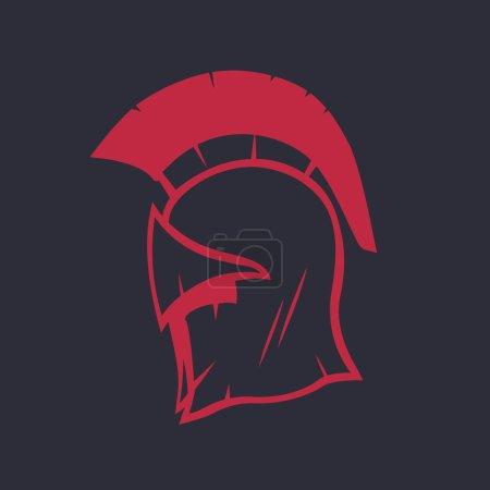 Spartan helmet logo element, red isolated on dark, vector illustration