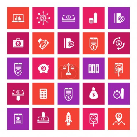 25 finance icons, investing, shares, stocks, money, funds, investment, income, square icons on white, vector illustration