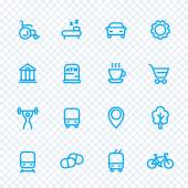 line icons set for map pictograms signs for city map vector illustration
