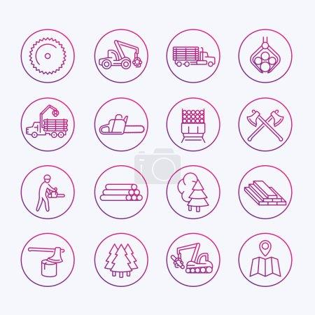 Illustration pour Icônes d'exploitation forestière, scierie, équipement forestier, camion d'exploitation forestière, abatteuse d'arbres, bois, bois, bois, jeu d'icônes de ligne mince, illustration vectorielle - image libre de droit