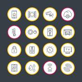 smart house technology system line icons set home automation control system smart house round signs vector illustration