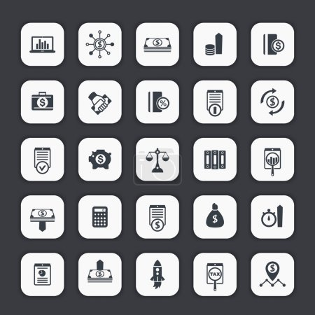 25 finance icons, investing, venture capital, shares, stocks, investor, portfolio, funds, investment, income, vector illustration