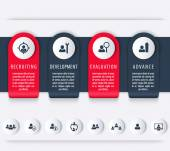 Staff HR employee development timeline template steps infographics elements icons