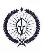 Grunge emblem with spartan helmet