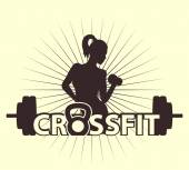 cross fit logo with girl vector illustration