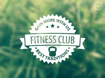Fitness emblem on green blur background
