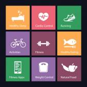 Healthy Living icons vector illustration eps10 easy to edit