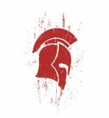 Grunge spartan helmet in profile with texture