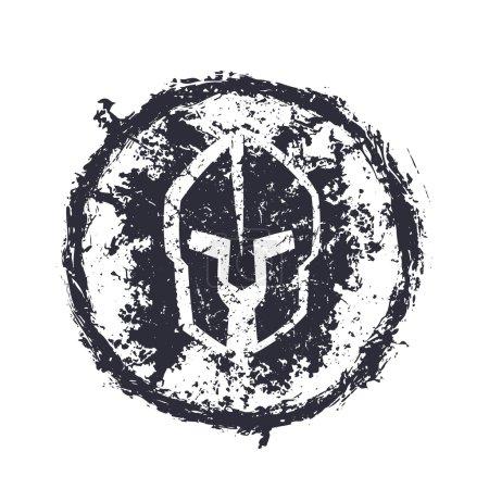 Grunge spartan helmet, round emblem
