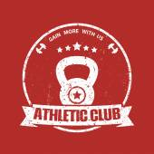 Athletic Club grunge vintage round emblem on red vector illustration eps10 easy to edit