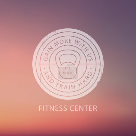 Fitness Center round white grunge Logo, Emblem