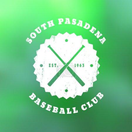 South Pasadena Baseball club grunge emblem with crossed bats on blur background