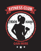 Fitness Club grunge color emblem with athletic girl