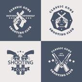 Shooting Club vintage emblems with crossed modern revolvers pistols