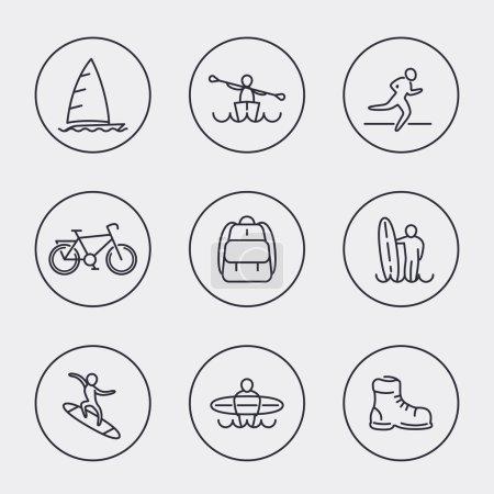 Travel, adventure, surfing, line round icons