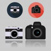 DSLR and Retro Compact Camera flat icons