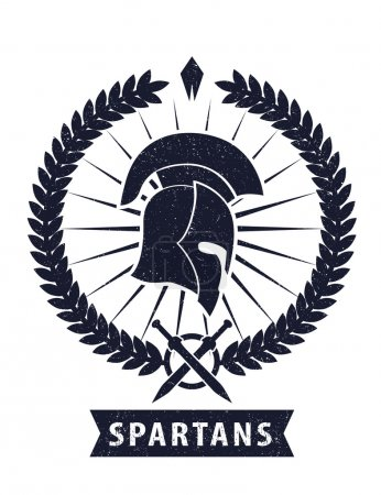 Emblem with spartan helmet scratched